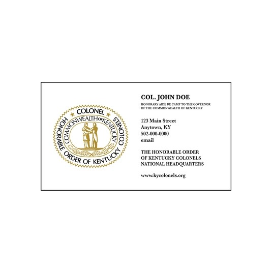Great Seal Personalized Colonel Calling Card