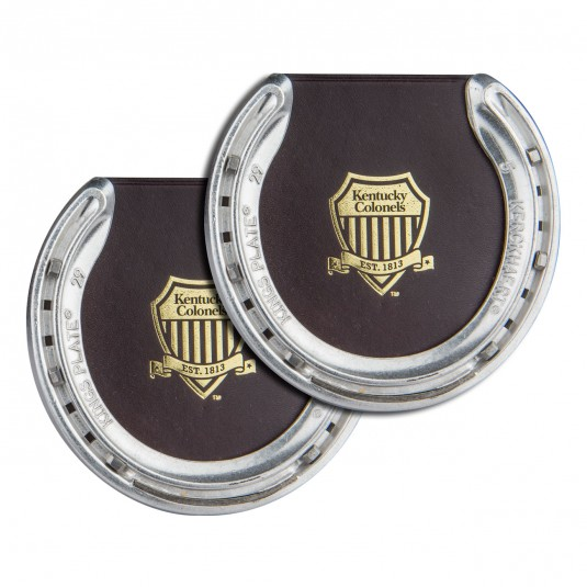 Leather Shield Logo Horseshoe Coasters