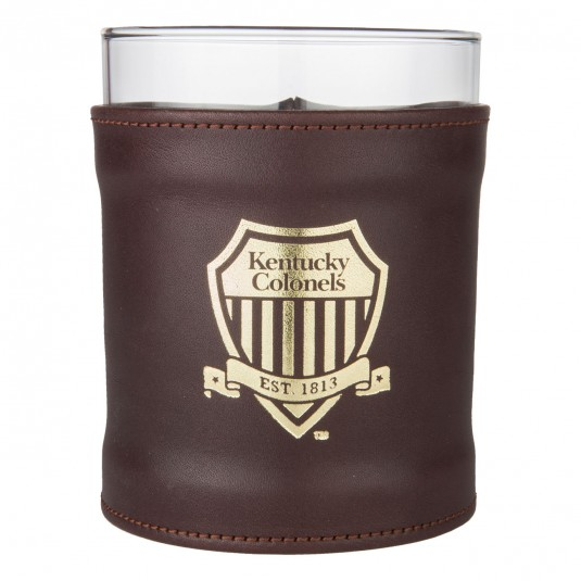 Leather Shield Logo Rocks Glass