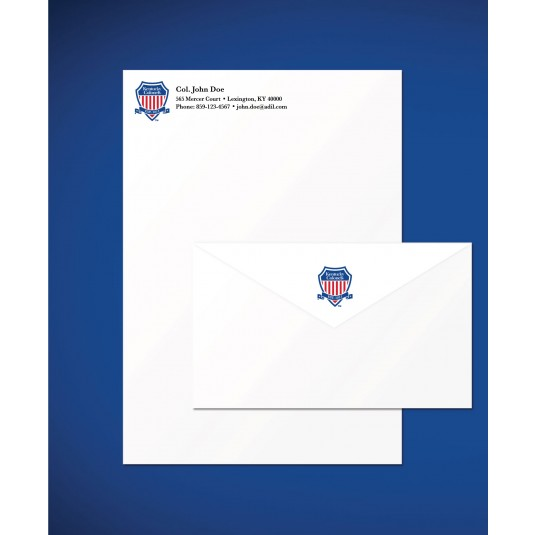Personalized Kentucky Colonel Shield Logo Stationery Set Left Side