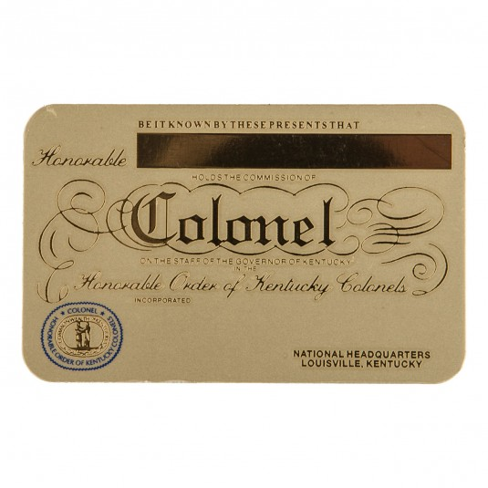 Kentucky Colonels Brass Membership Card